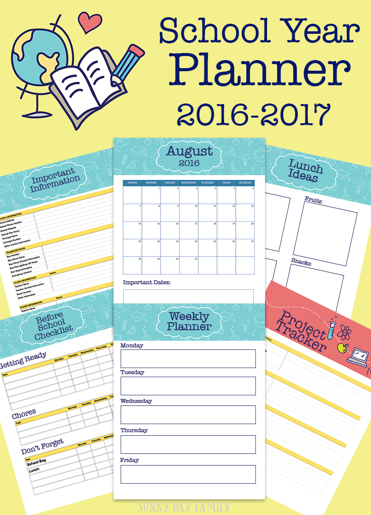 printable school planner