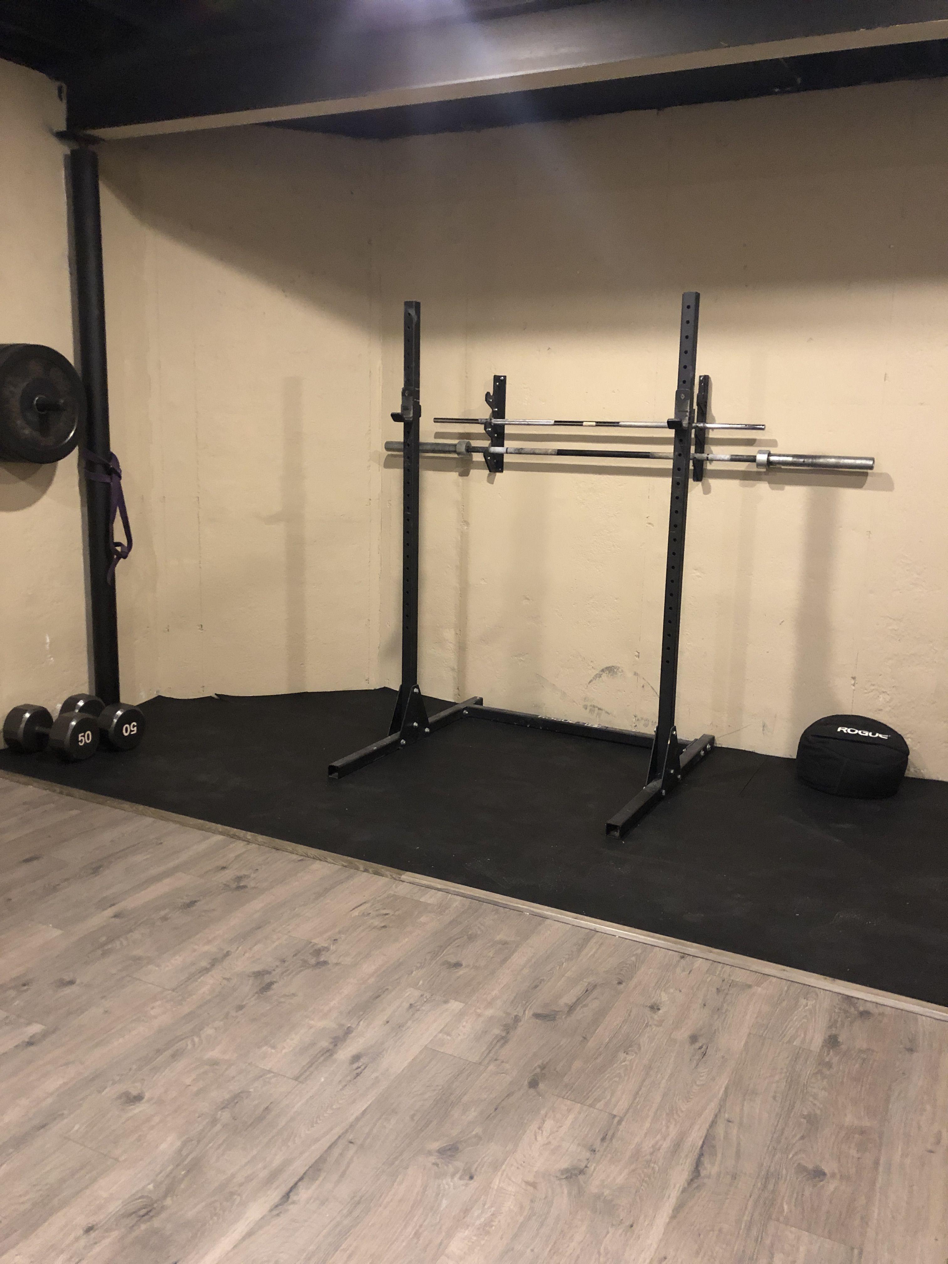 Crossfit And Peloton Room Rubber Flooring Rubber Flooring Basement Basement Gym