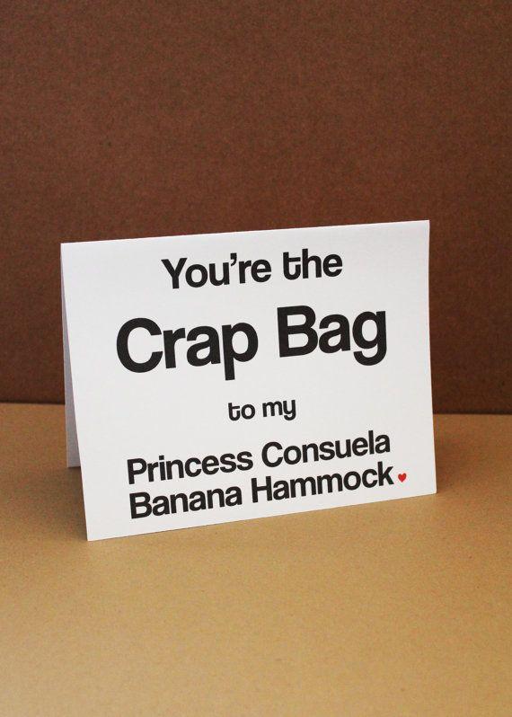 friends   princess consuela banana hammock and crap bag by lissaloostationery crap bag card  funny valentine u0027s day card   bananas princess and bag  rh   pinterest