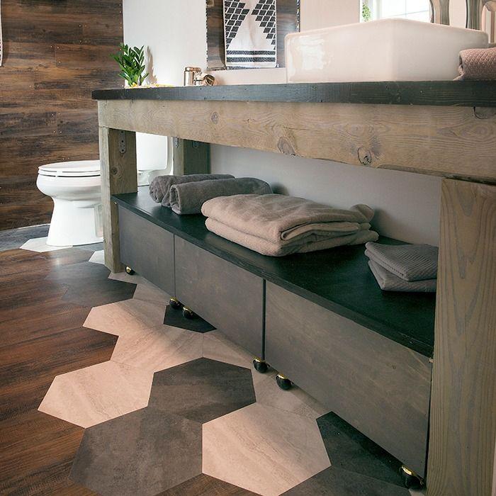 m lange parquet carrelage pour la salle de bains sols et murs pinterest. Black Bedroom Furniture Sets. Home Design Ideas