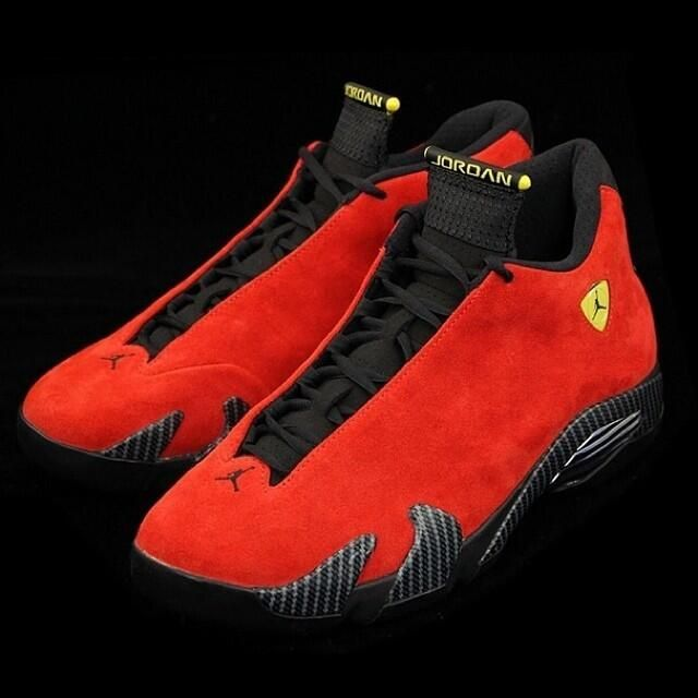 "Head over to http://Kicksonfire.com  and check out a full set of images on the Air Jordan 14 ""Ferrari"". pic.twitter.com/2XXI0hxaZL"