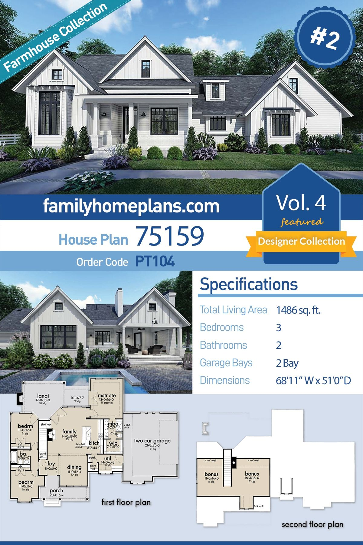 Southern Style House Plan 75159 With 3 Bed 2 Bath 2 Car Garage House Plans Farmhouse House Plans Garage House Plans