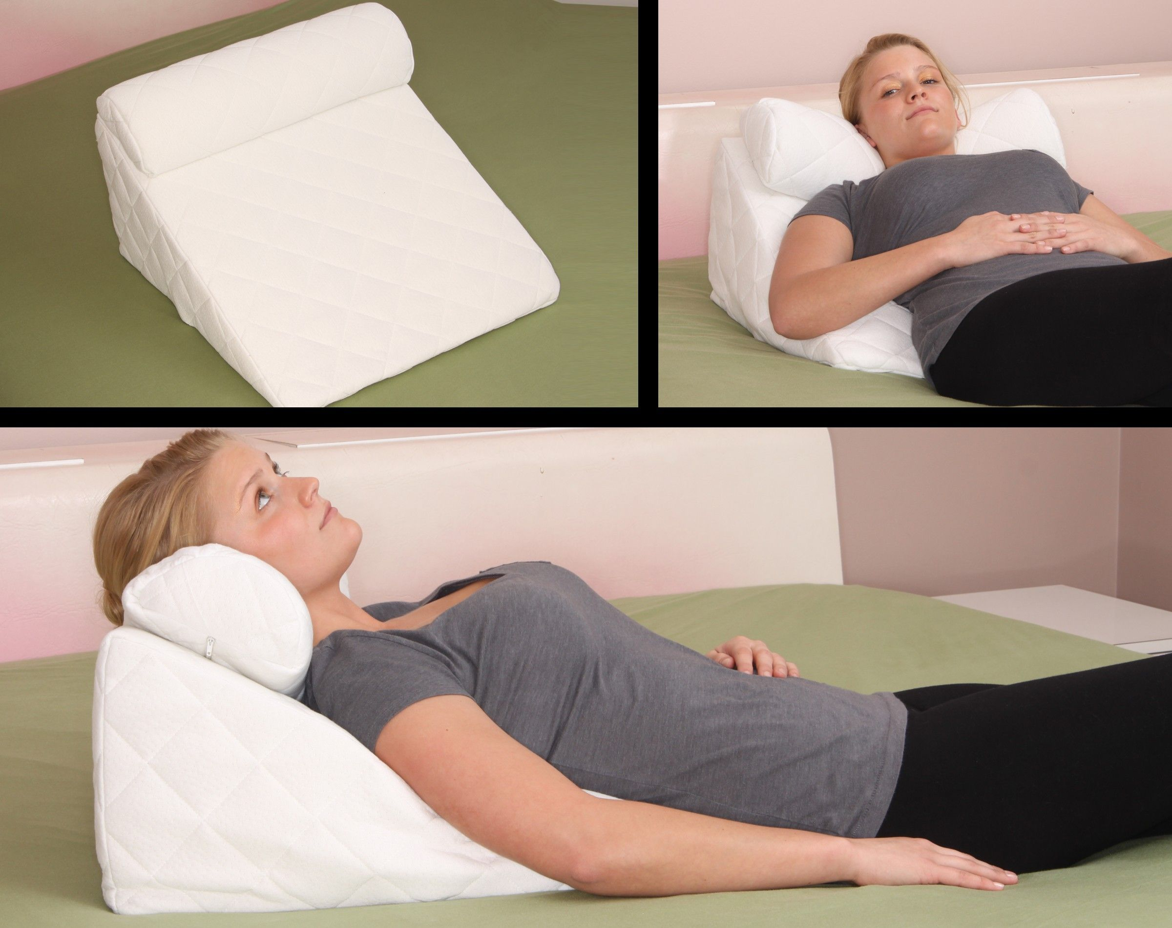 Acid Reflux Pillow Deluxe Comfort Hypoallergenic Memory Foam Bed Wedge Pillow Set 24