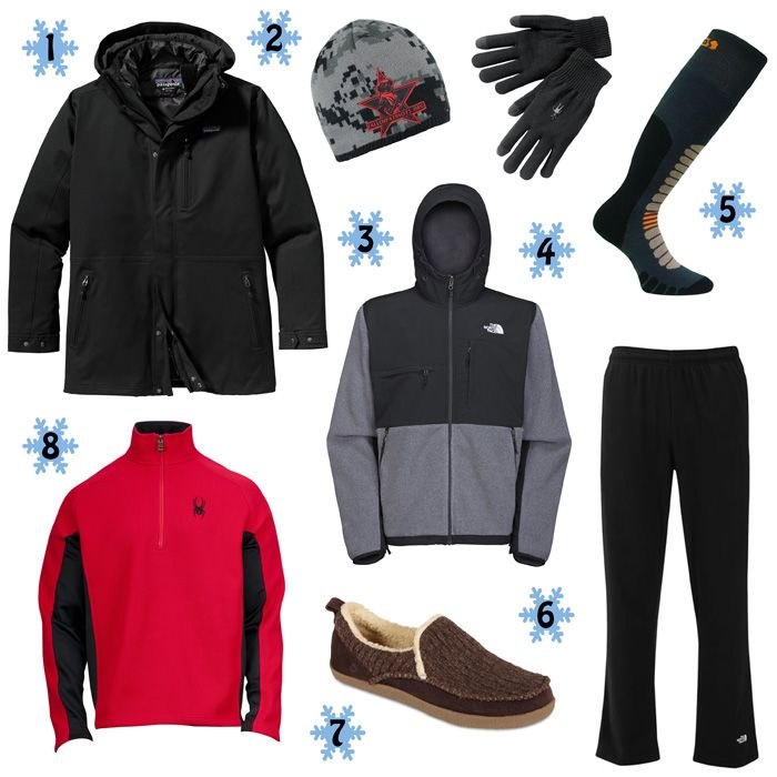 Holiday Gift Guide, The Urban Dweller: 1. Patagonia Tres 3-in-1 Parka 2. Spyder The Fallen Hat 3. The North Face Denali Hoodie 4. Smartwool Touch Liner Glove 5. Eurosock Board Zone Sock 6. The North Face TKA 100 Fleece Pant 7. Acorn Crosslander Moc 8. Spyder Outbound 1/2 Zip Core Sweater