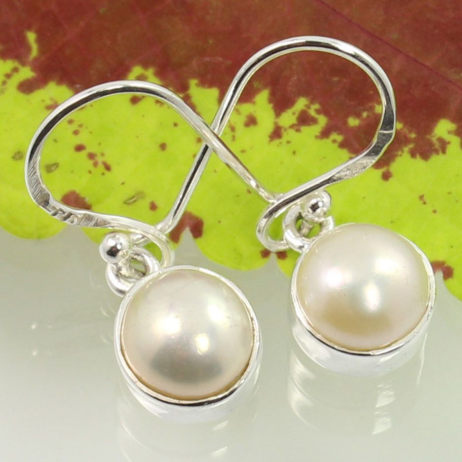 925 Sterling Silver Natural PEARL Round Cabochon Gemstones New Fashion Earrings #SunriseJewellers #DropDangle