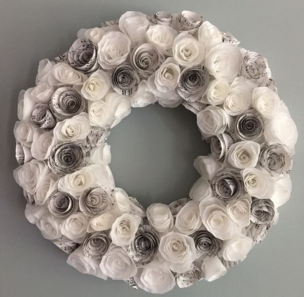 Rosette Wreath from Coffee Filters and Sheet Music