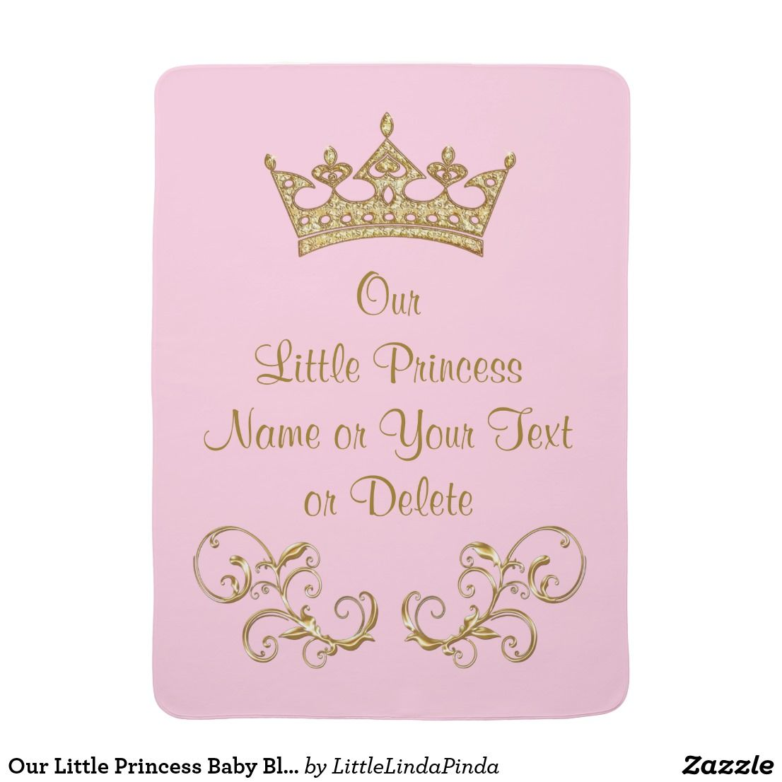 Personalised Pink Little Princess Baby Blanket Great Baby Gift.