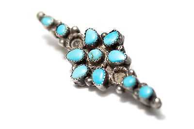 Vintage-Zuni-Petit-Point-Turquoise-Sterling-Silver-Pin