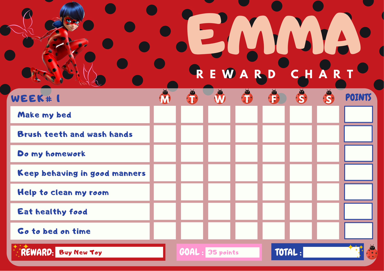 Editable weekly chore chart, printable kids reward chart