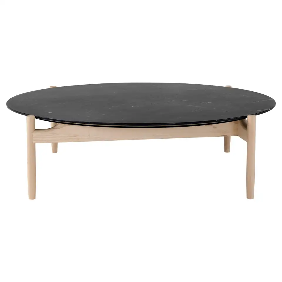 Amura Juli Large Round Coffee Table In Marble And Wood By