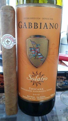 Monticristo white label Churchill cigar and Gabbiano Solatio Toscana.