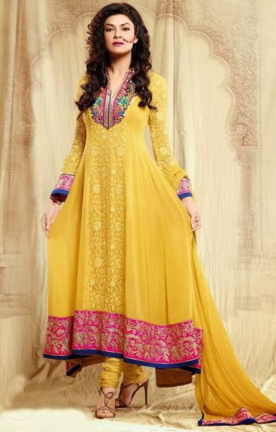 USD 104.2 Yellow Sushmita Sen Faux Georgette Embroidered Bollywood Anarkali Suit 27619