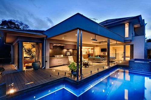 Awesome house! | We Heart It | pool, house, and architecture ...
