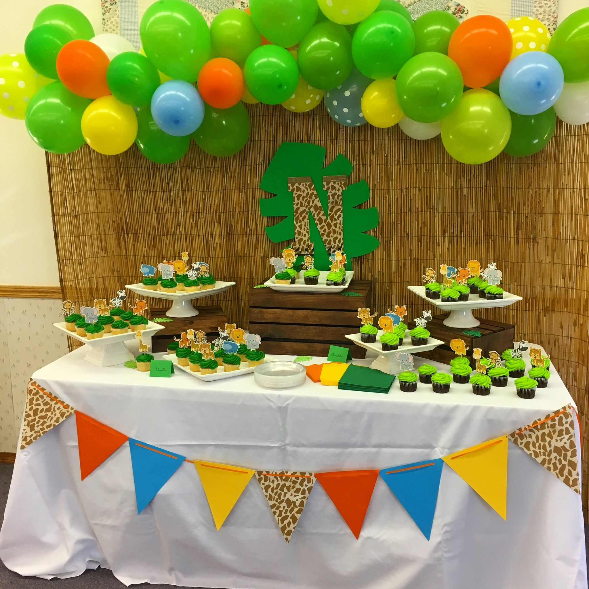 Cupcake table for an African Safari themed baby shower