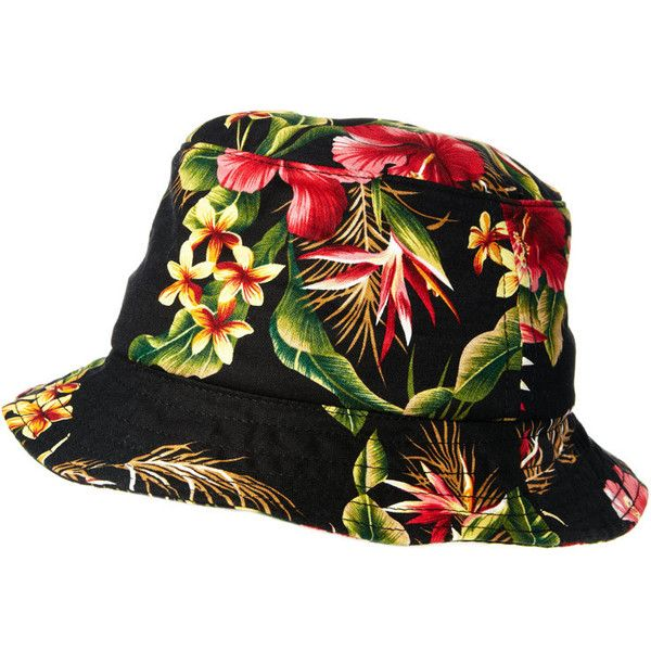 b1c2cba167c422 HUF Blossom Bucket Hat ($61) ❤ liked on Polyvore featuring mens, men's  accessories, men's hats, hats and black