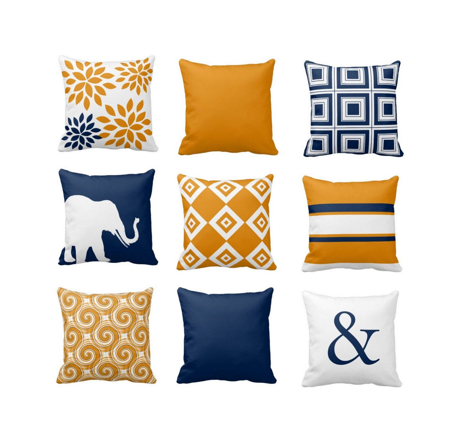 Throw Pillow Covers Navy Orange Pillow Couch Cushion Blue Orange ...