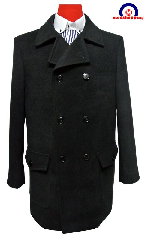 Black pea coat 60s tailored 100 wool mens black pea coat