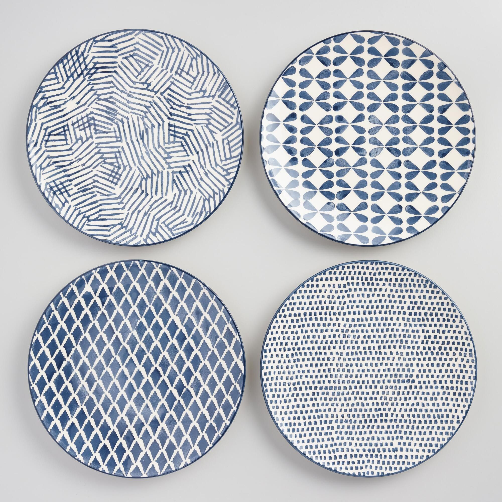 Indigo Blue and Ivory Alvaro Dinner Plates Set of 4 by World Market