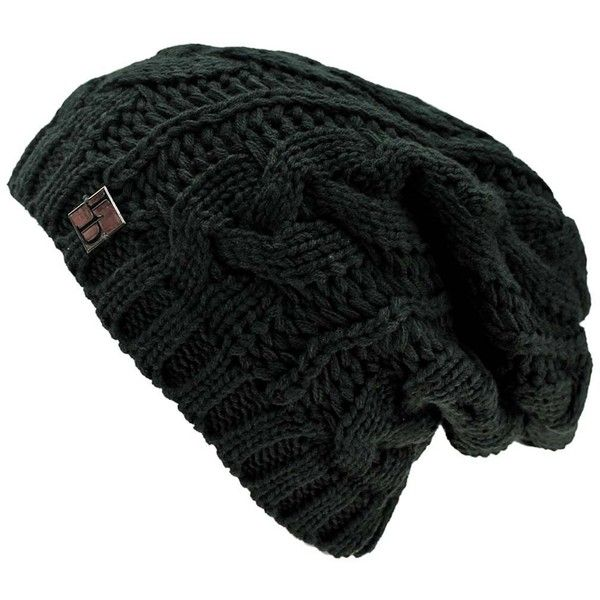 48588c94d45001 Black Oversize Slouchy Cable Knit Unisex Beanie Cap Hat ($15) ❤ liked on  Polyvore featuring accessories, hats, black, skull beanie, beanie cap, knit  hat, ...