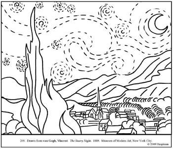 van Gogh. The Starry Night. Coloring page and lesson plan