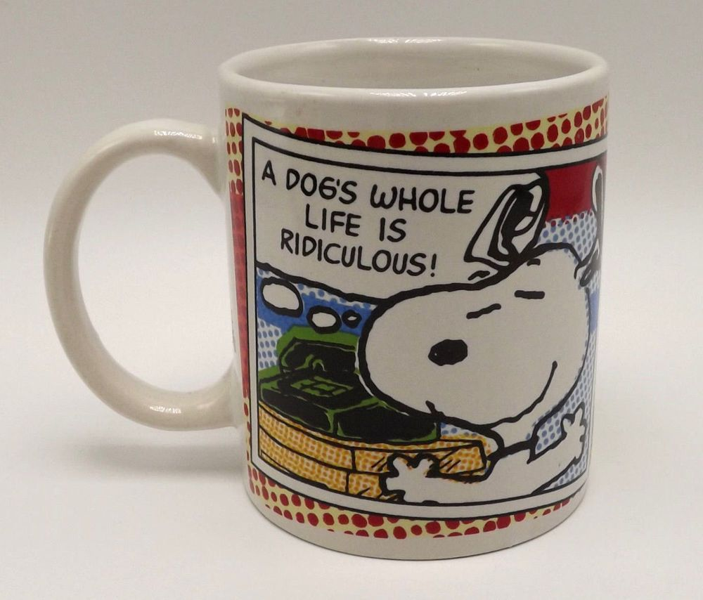 Snoopy Peanuts A Dogs Whole Life Is Ridiculous Coffee Mug Tea Cup Pottery