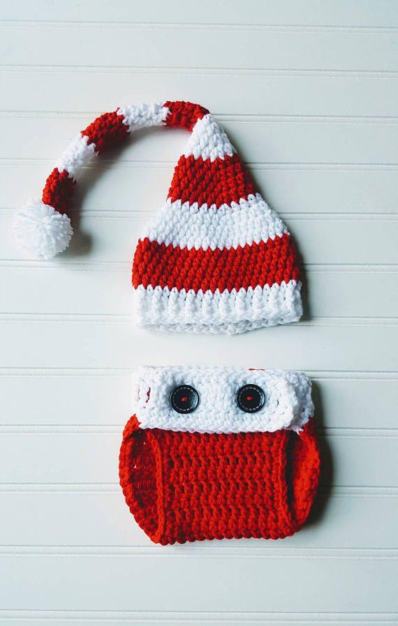 Baby Santa s knit hat photo prop with crochet diaper cover e447cc269214