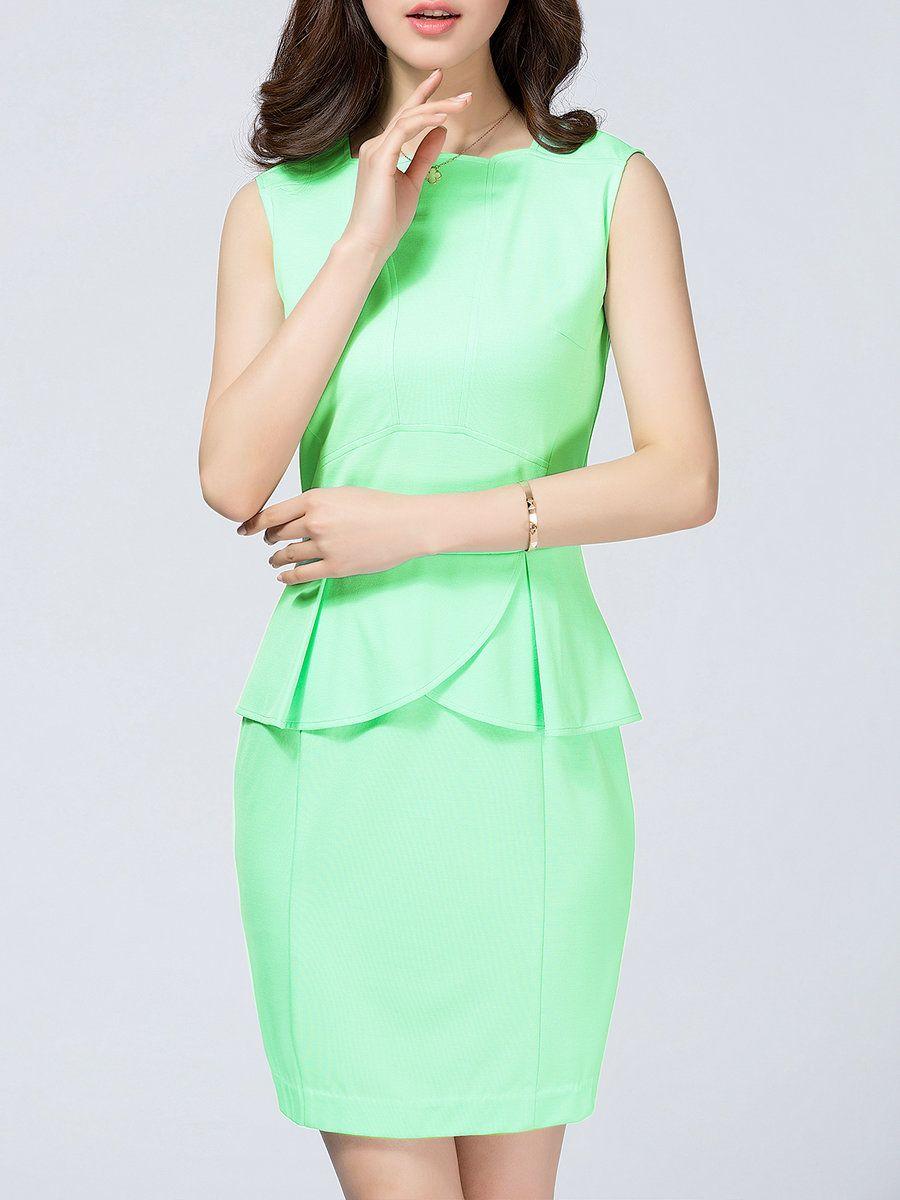 #AdoreWe #StyleWe LIFVER Mint Ruffled Bodycon Sleeveless Midi Dress - AdoreWe.com