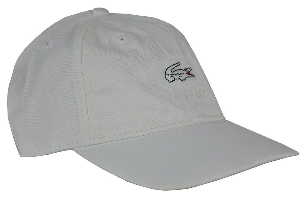 54a0c9d2580 Lacoste mens fairplay cotton gabardine cap white RK9266 adjustable TU ONE   Lacoste  BaseballCap