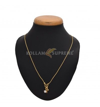 This simple gold plated pendant with chain is a best for your daily buy heart shape small stone pendant with chain online kollam supreme mozeypictures Image collections