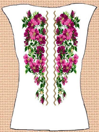 Заготовка для вишивки жіночої сорочки без рукавів (СЖБР-002) Загадкова  шипшина af83ae22877cc