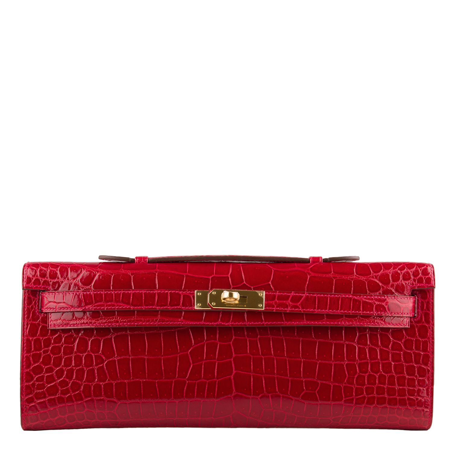 49bcfcf806c5  Hermes  Kelly Cut Braise Red Shiny Porosus Crocodile Gold Hardware  Clutch   Bag