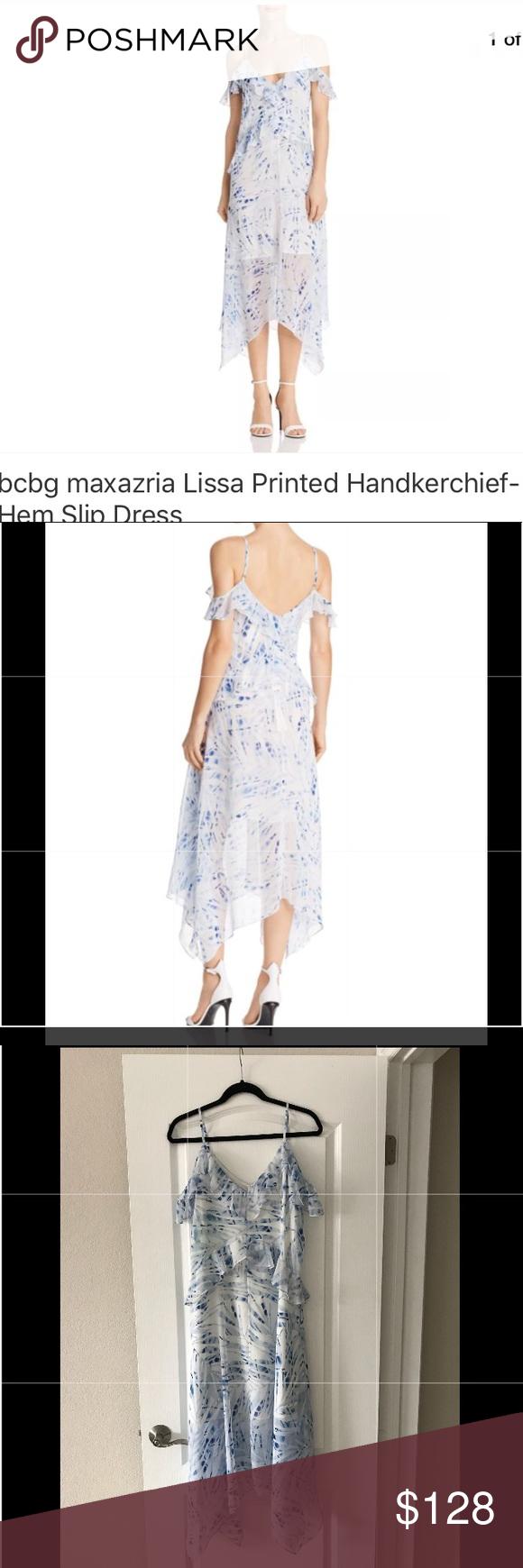 d87a6cb81fa9 Bcbg Maxazria Lissa Printed Handkerchiefs Dress Super cute dress with off  shoulder. Beautiful prints for