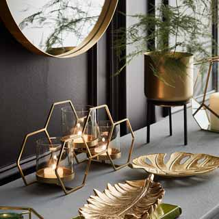 Gold Hexagon Mirror Tray Home Decorative Accessories B M Stylish Living Room Furniture Gold Living Room Copper Living Room