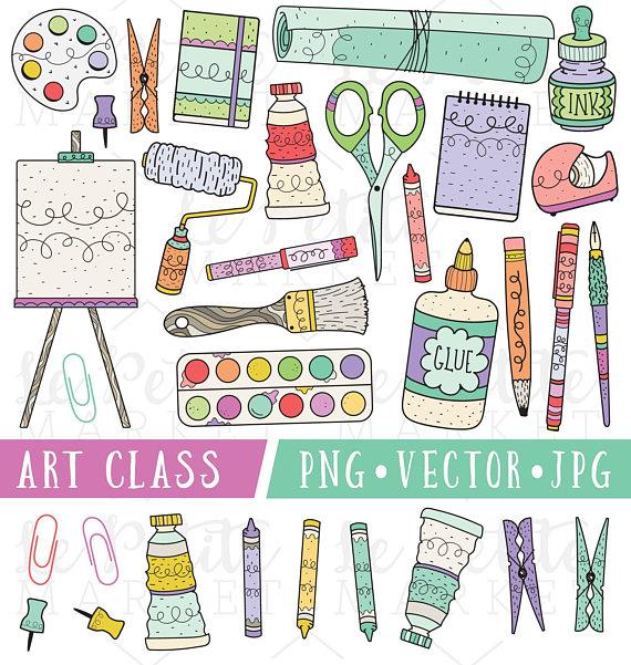 School Supplies Clipart, Art Class Clip Art, Clipart for ...