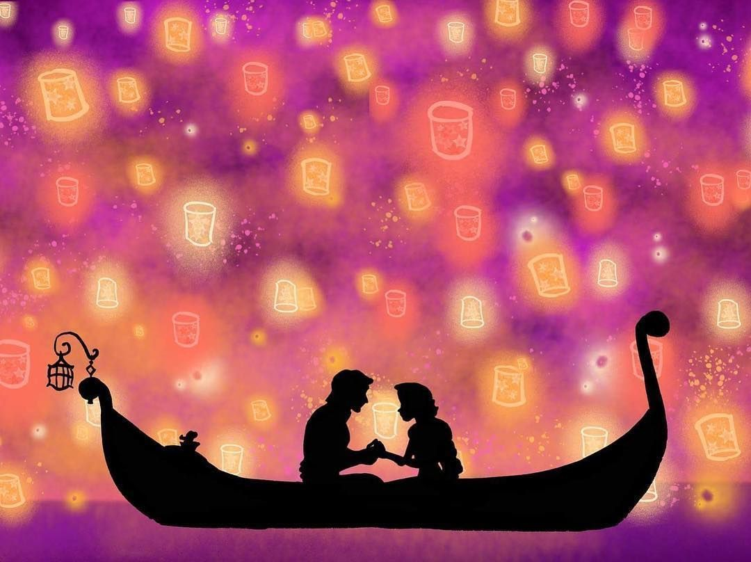 Tangled Tangled Lanterns Illustrations By Dil On Instagram I See The Light Dil Dis In 2020 Lantern Illustration Disney Silhouettes Disney Silhouette