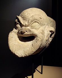 A 1st century BC Hellenistic gargoyle representing a comical cook-slave from Ai Khanoum, Afghanistan