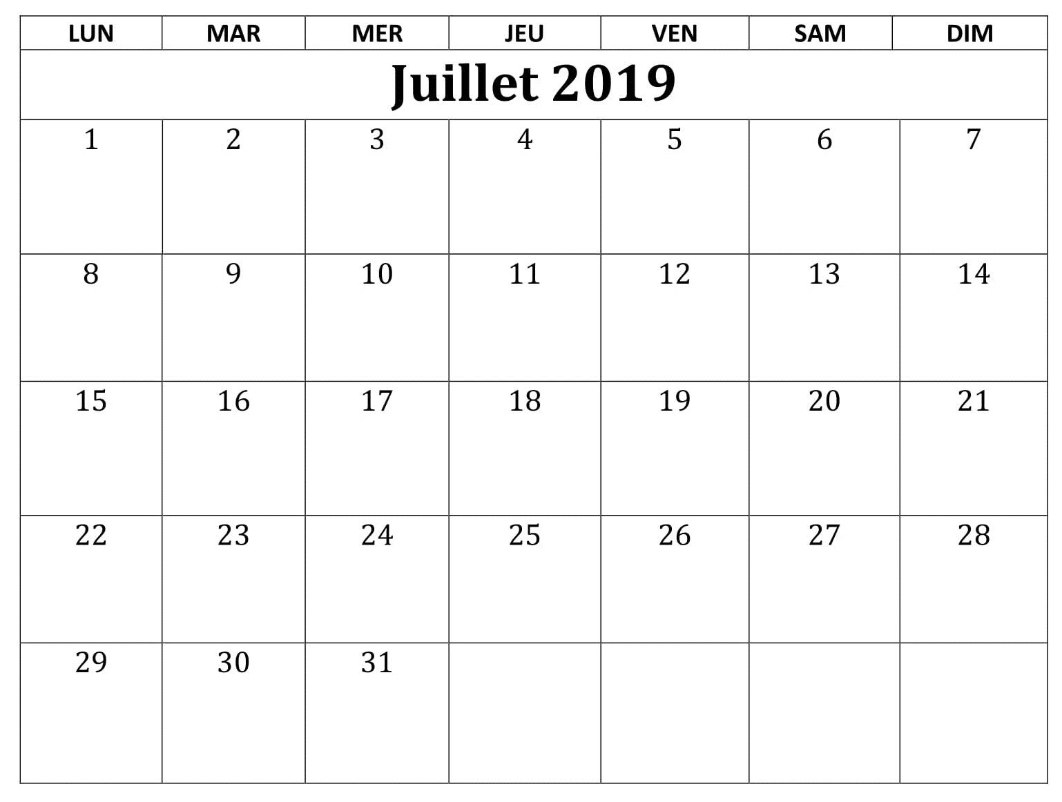Calendrier Excell.Calendrier 2019 Juillet Excel Calendrier Juillet 2019 In