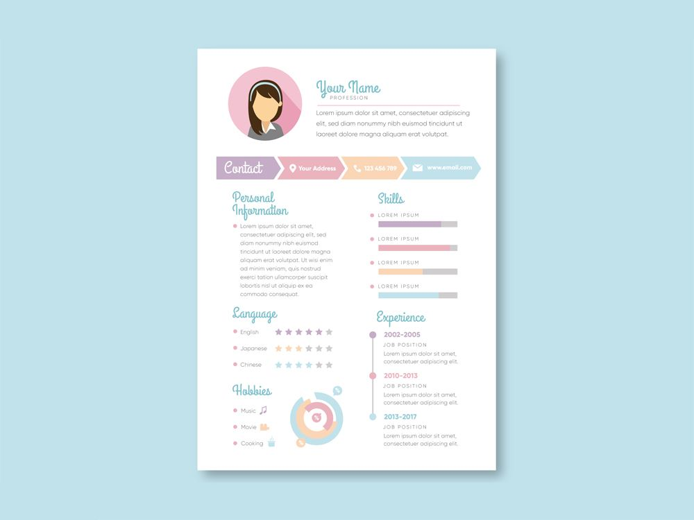 Free Vector Resume Template For Job Seeker With Feminine Design All Design Element Are Easy To Use And Cu Resume Template Free Resume Examples Resume Examples