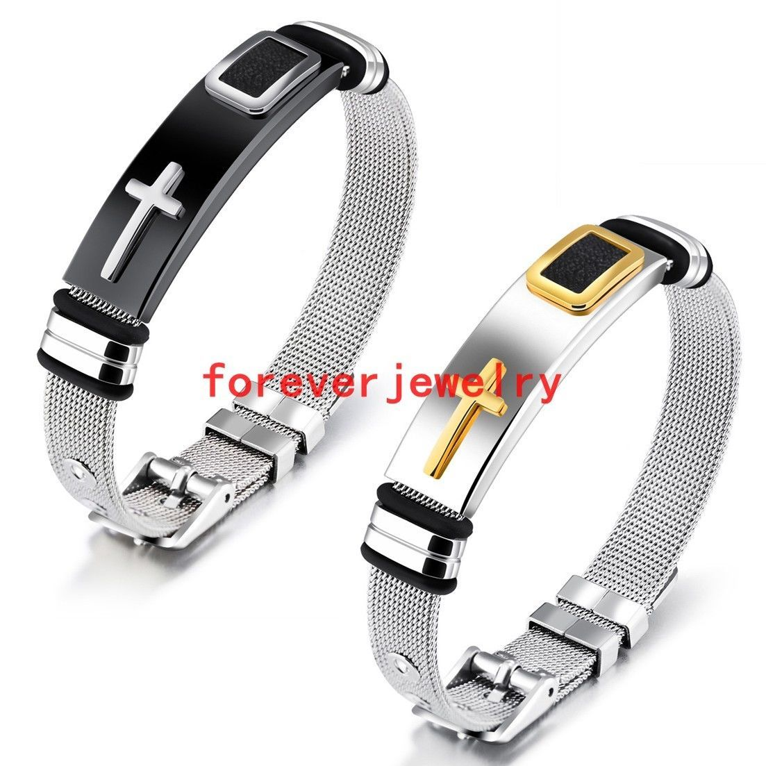 Stainless steel silver gold black cross tag wire chain men women