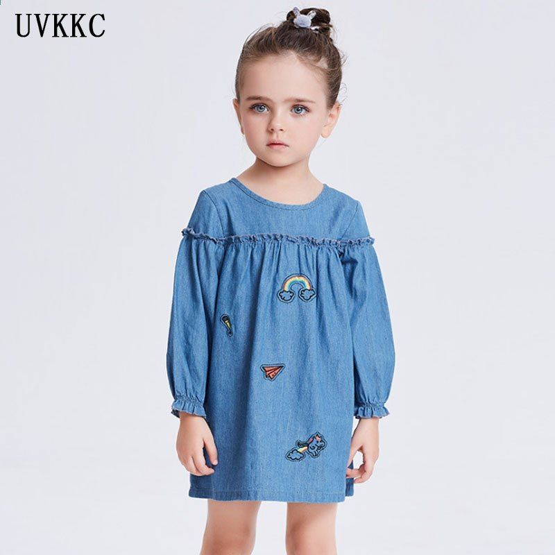 special section various colors fast delivery Toddler Girls Denim Dress 2018 Estate stile casual Neonate ...