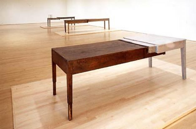 Doris Salcedo | Unland - two tables grafted together with their surfaces woven together human hair. Loved this show at SITE, along side a Tuttle Martin exhibit. Ahhhh...