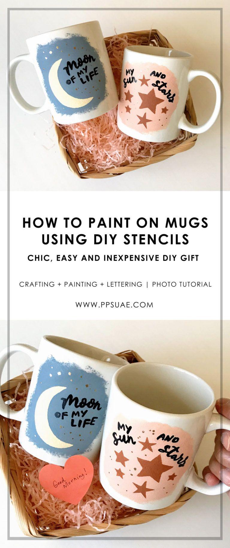How To Paint On Mugs Using Diy Stencils Photo Tutorial Tutorials Diy Mug Designs Painted Mugs Acrylic Painting Diy