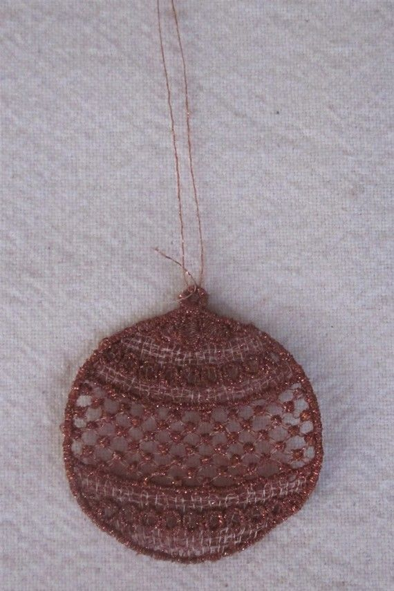 Metallic Copper Embroidered Christmas Ornaments by gerisembroidery