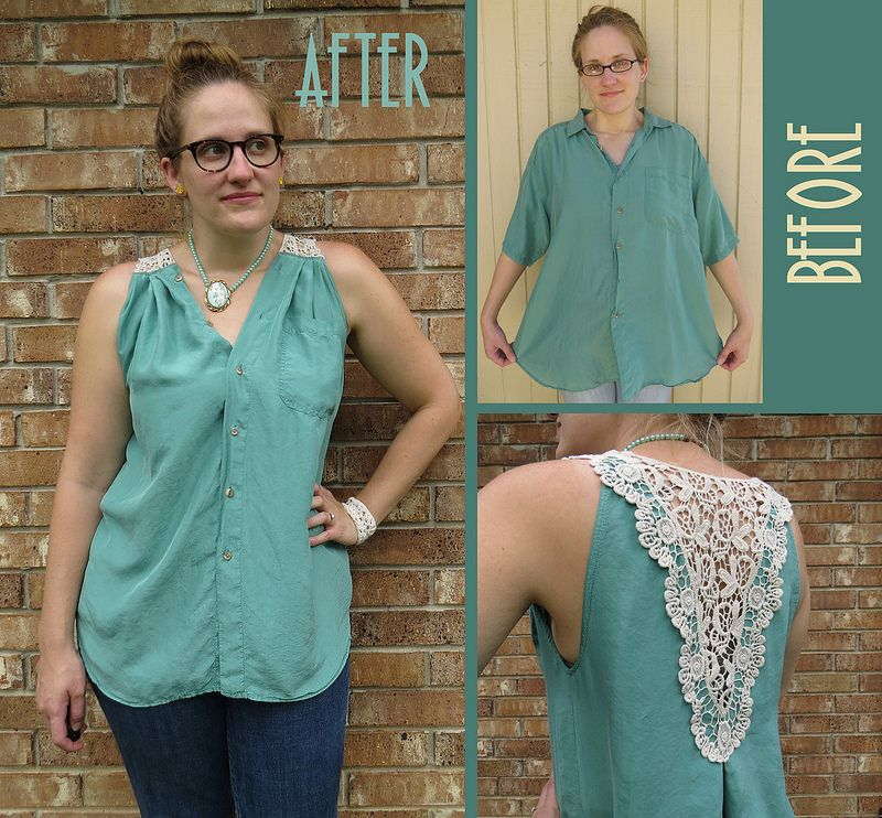 Silk and lace blouse refashion by carissaknits my refashions pinterest customisation - Idees recyclage vetements ...