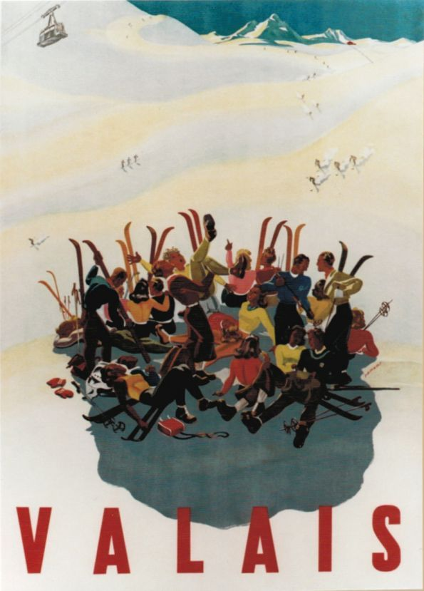 1942 Lunch time on the ski slope in the canton of Valais (Wallis) in the Swiss Alps, Switzerland vintage travel sport poster
