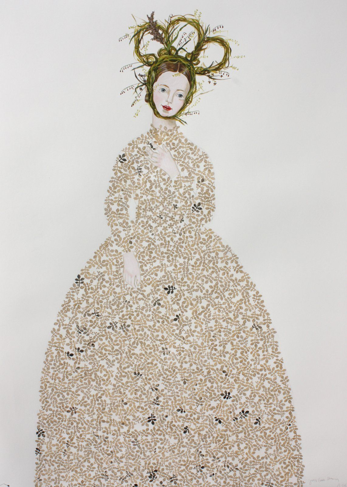 """The entire dress in this painting is made up of collage from an old book. We love Anne Siems. """"Grass Crown"""", acrylic and collage on paper, 50x38 inches at Wally Workman Gallery in Austin, Texas"""
