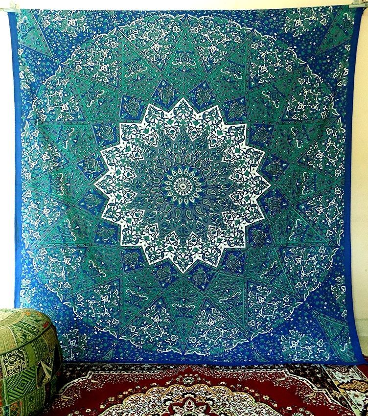 indian psychedelic star hippie tapestry wall hanging bedspread ethnic home decor #Handmade