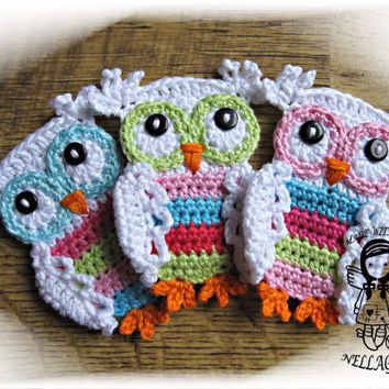 Crochet Pattern Applique Coloured Owl Applique Owl Diy Pattern 3