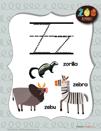 Letter Z Animals Printable Poster Primarylearning Org Classroom Posters Free Classroom Posters Classroom