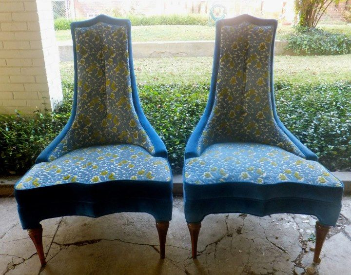 Vintage Velvet Peacock Blue With A Peacock Blue And Citron Green Tapestry  On The Seats. These Would Make Awesome Accent Chairs Or Host/hostess Chairs  At ...